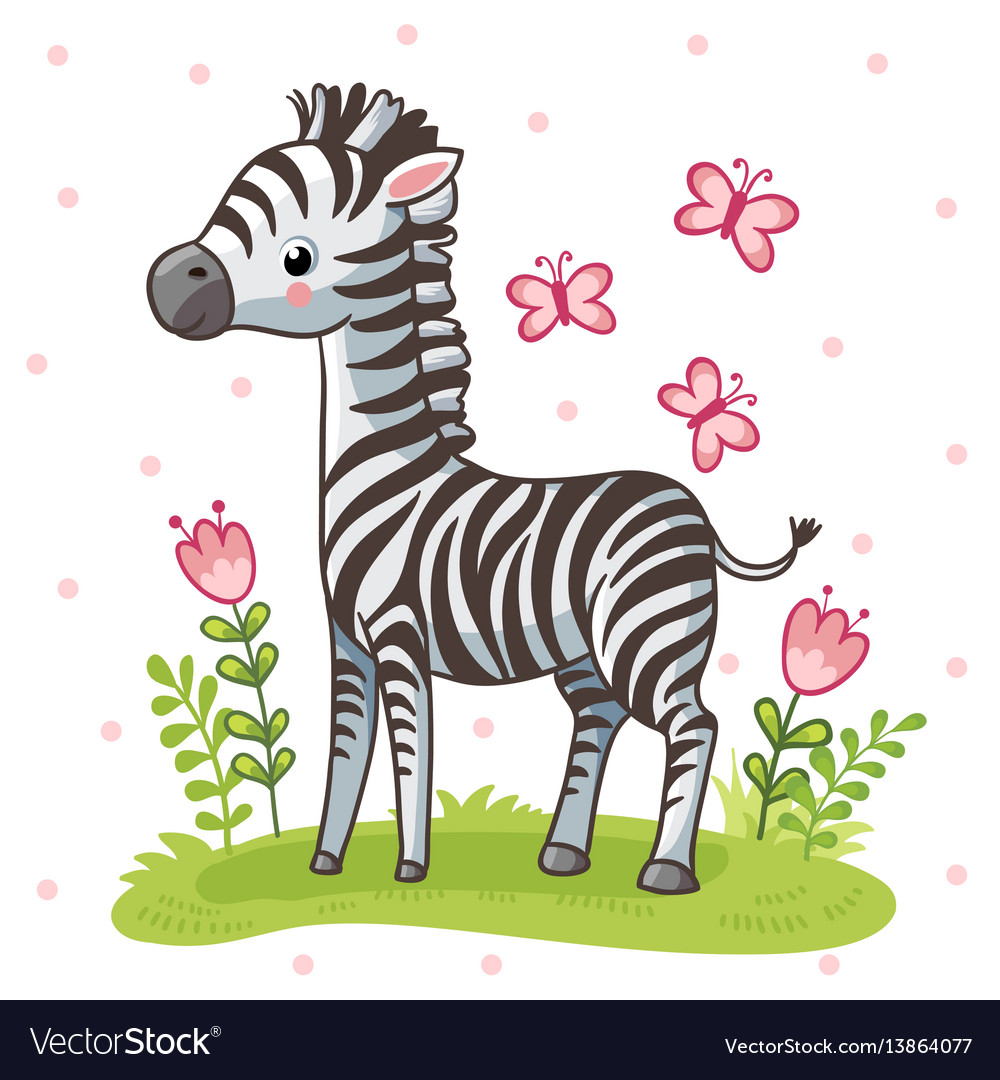 Striped cute zebra is standing on the green meadow