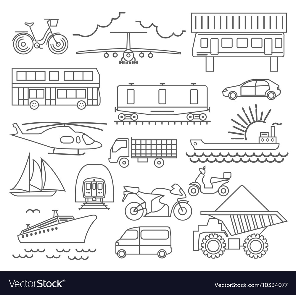 Transportation icon set Thin line design