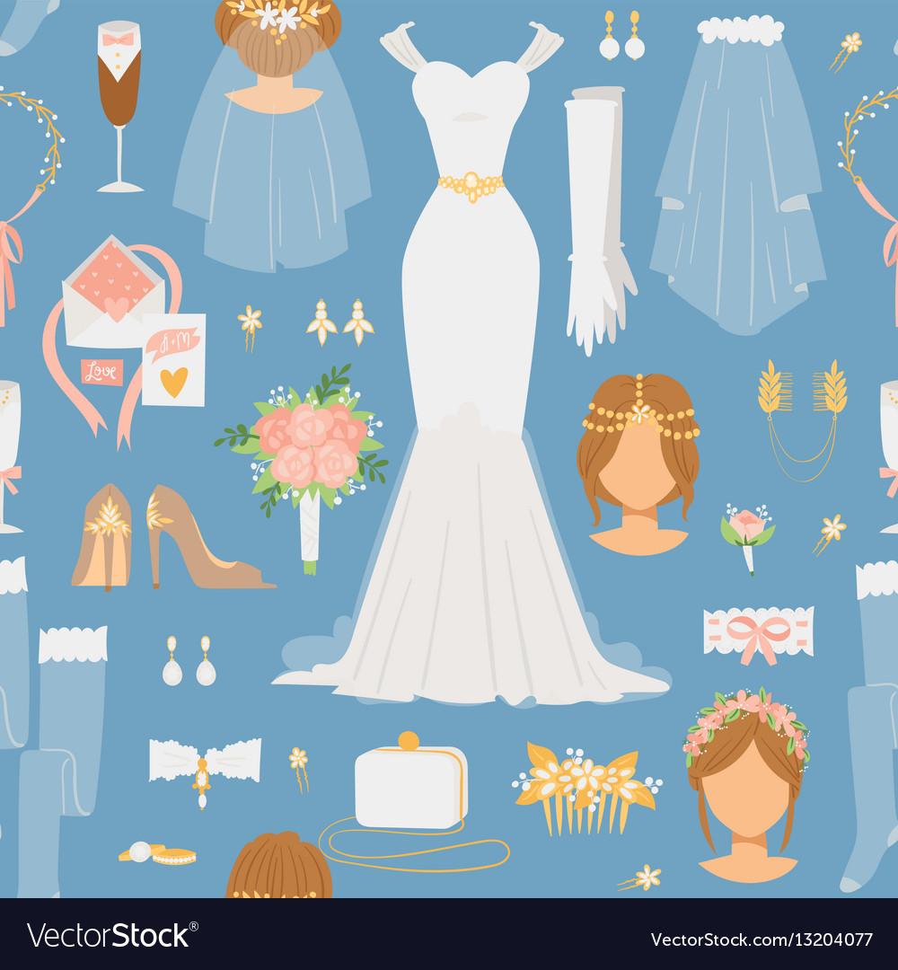 Wedding cartoon bride icons seamless