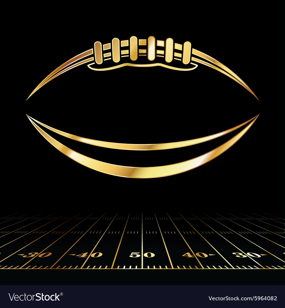 Golden American Football and Field Lines
