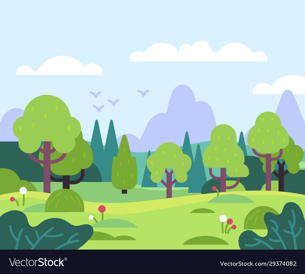 Minimal summer landscape nature park and forest