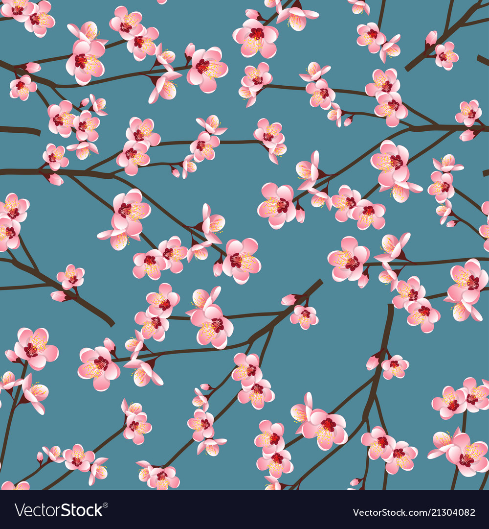 Momo peach flower blossom seamless on blue