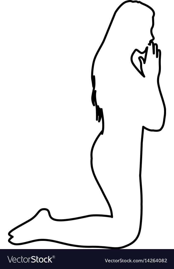Monochrome contour of woman praying on knees