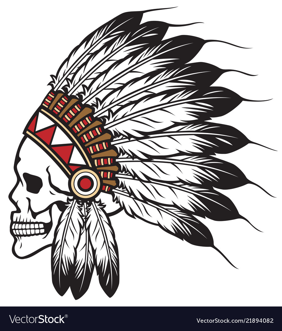 13dbca75e Native american indian chief skull Royalty Free Vector Image