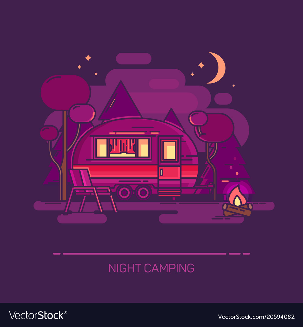 Outdoor view on cartoon trailer at night camping