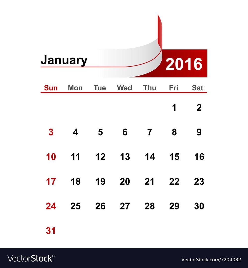 Simple calendar 2016 year january month
