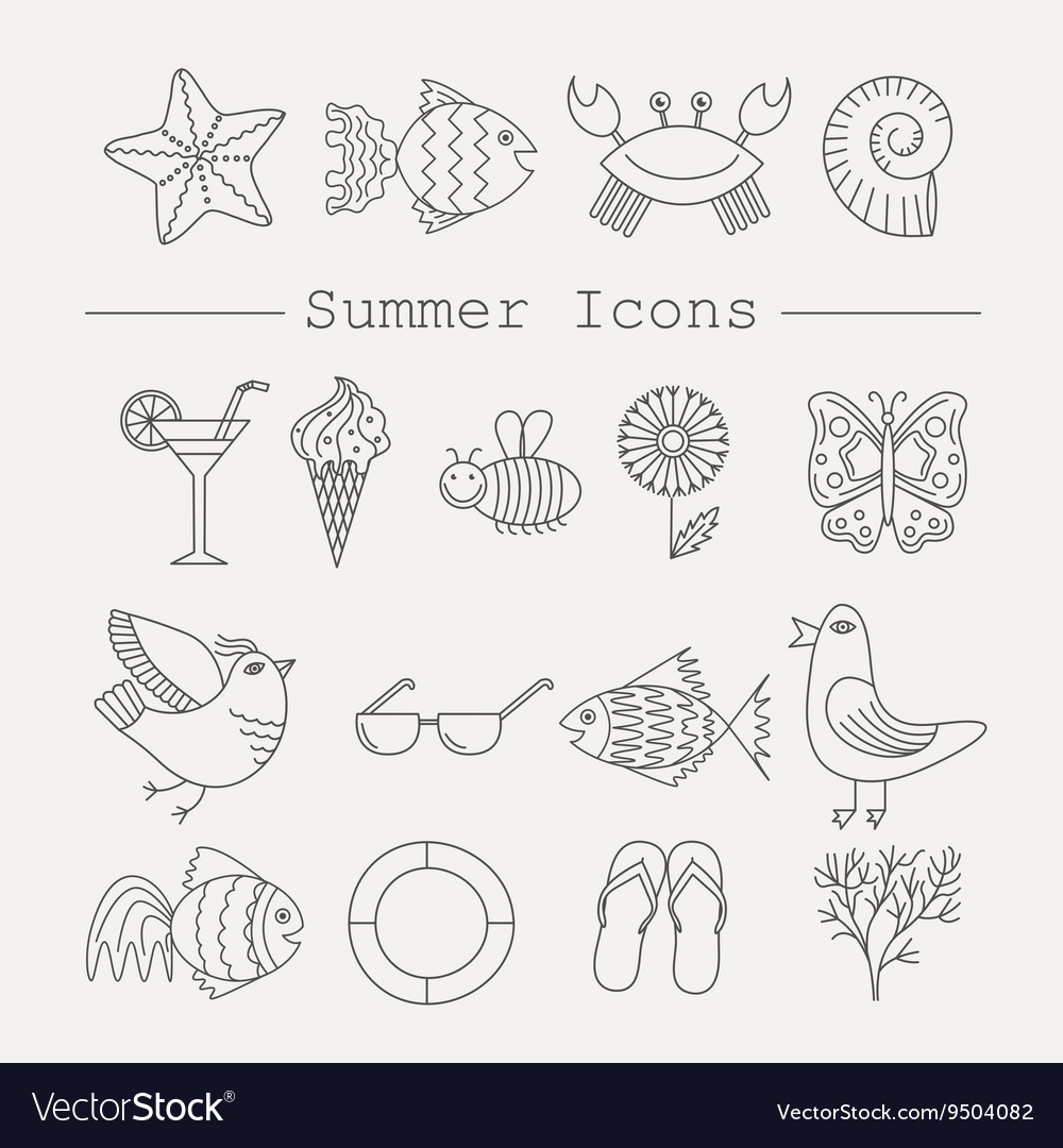 Summer Icons with White Background
