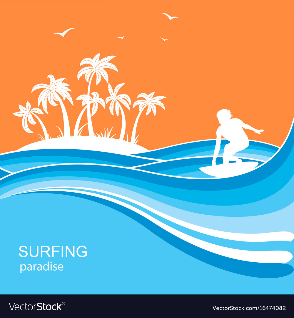 Surfer and sea waves backgroundsummer nature