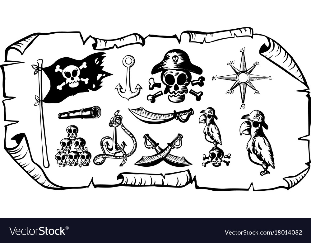 Treasure Map With Many Pirate Symbols Royalty Free Vector