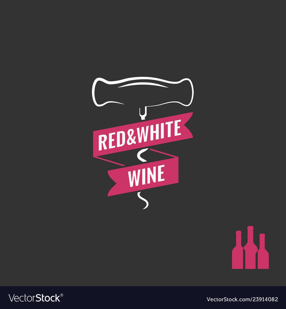 Wine corkscrew logo wine bottles with screw