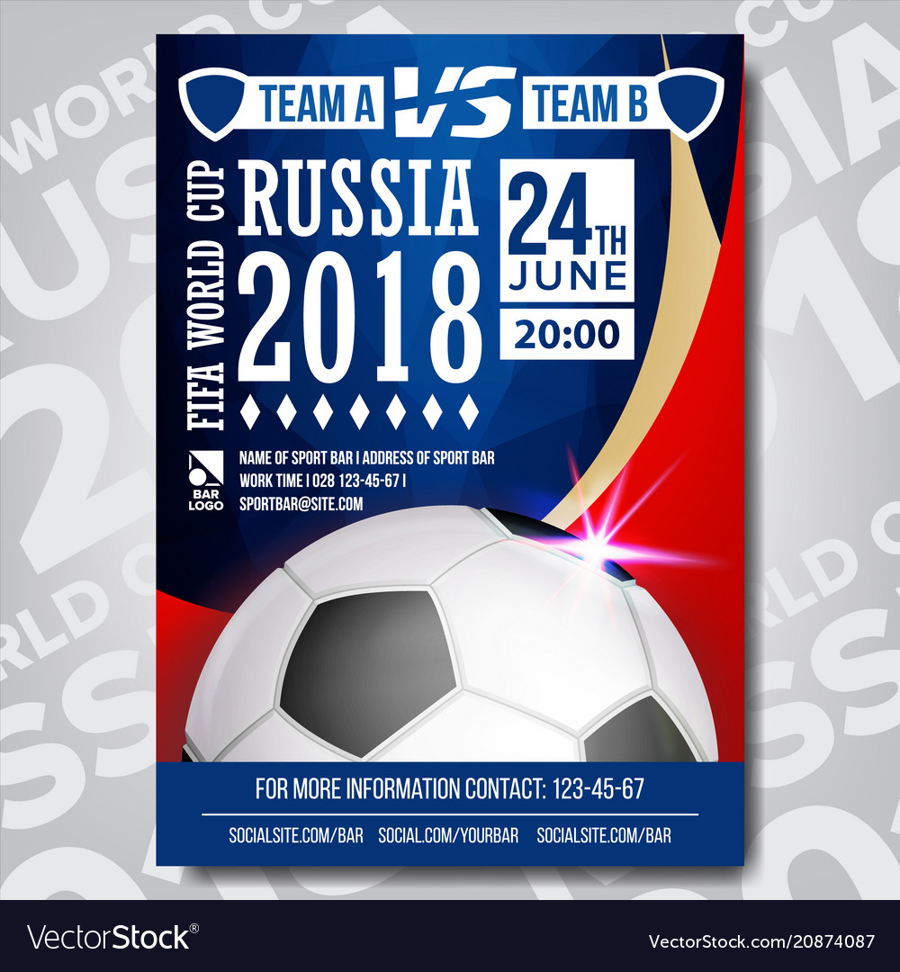 aa519a168 2018 fifa world cup poster russia event Royalty Free Vector