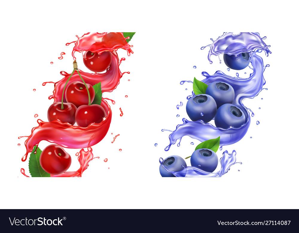 Berries juice splash cherry and blueberry set