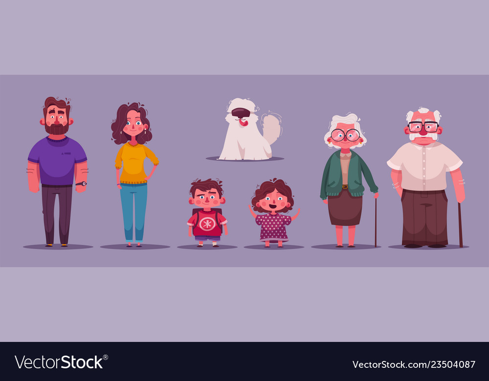 Big happy family together character design