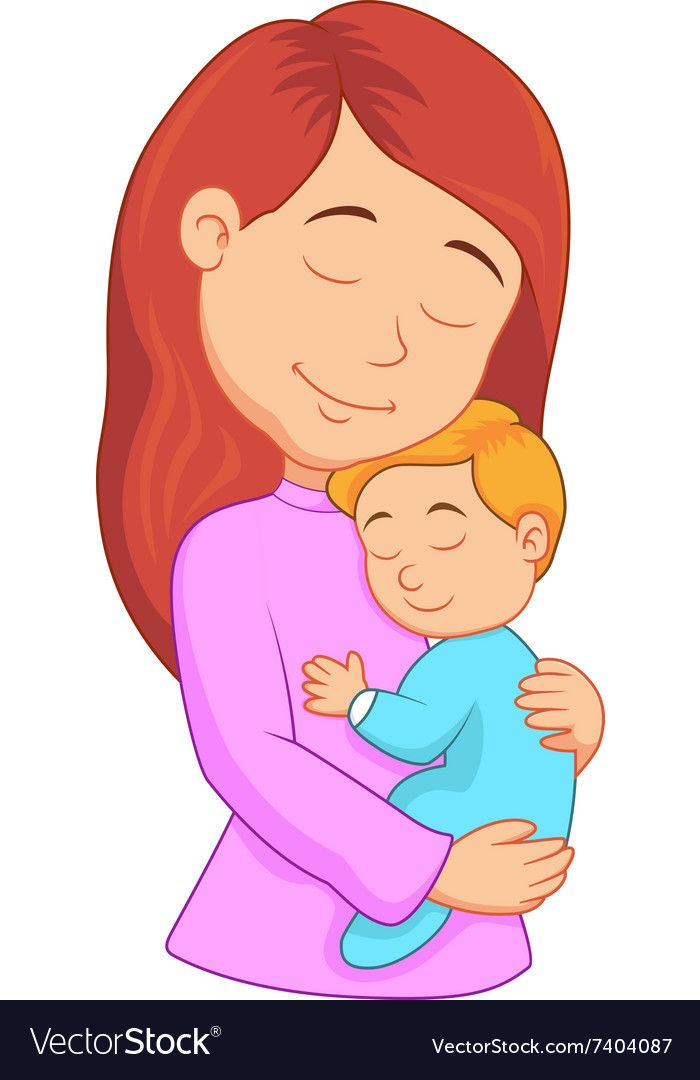 Cartoon mother holding her son Royalty Free Vector Image