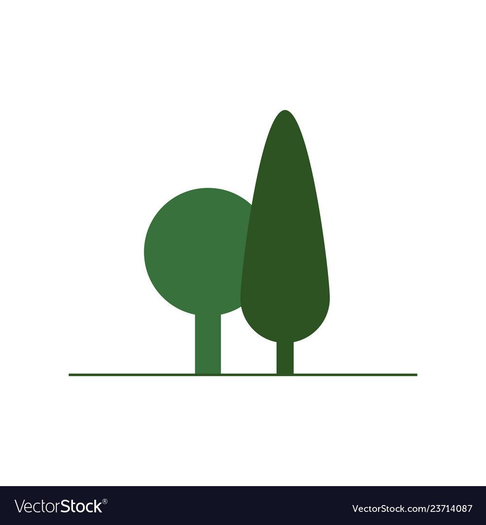Flat green tree icon isolated on white background