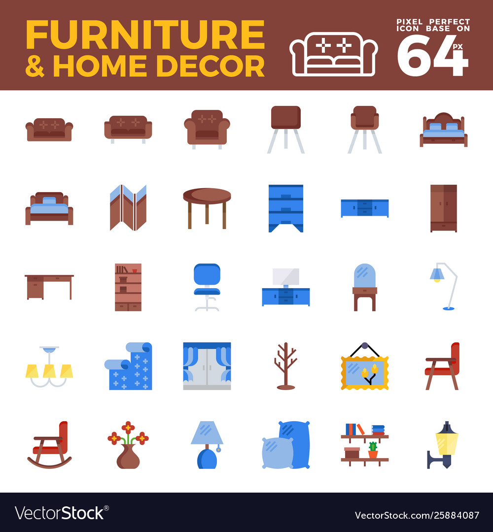 Furniture and home decor flat icon