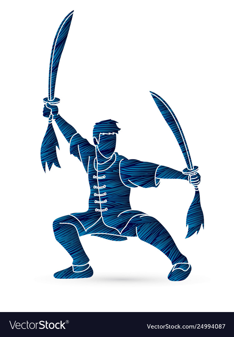 Kung Fu Wushu With Swords Pose Cartoon Graphic Vector Image