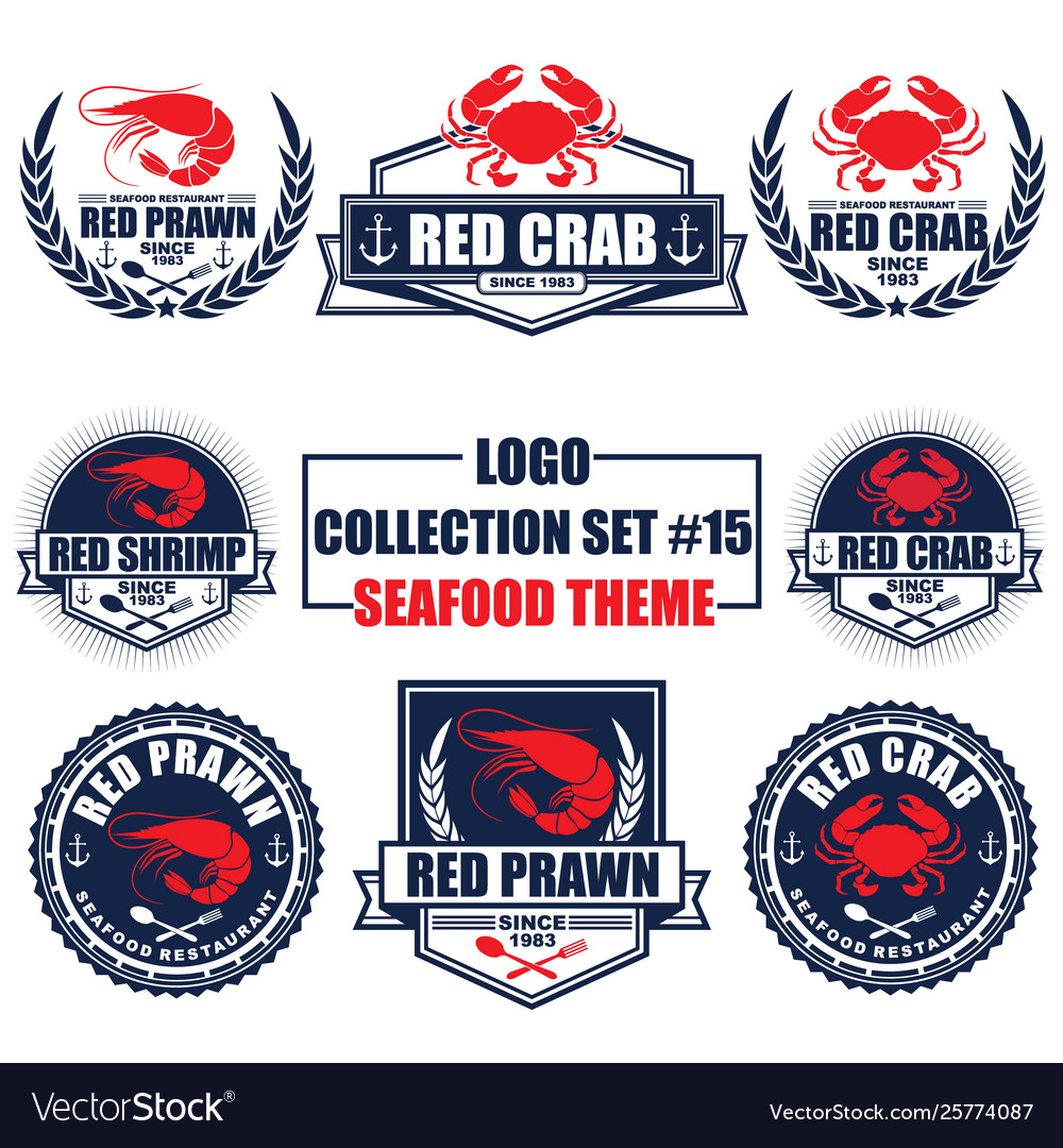 Logo collection set with seafood restaurant theme