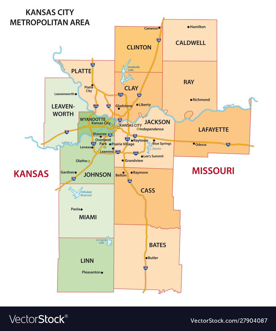 map of kansas city metro area Map Kansas City Metropolitan Area Royalty Free Vector Image map of kansas city metro area