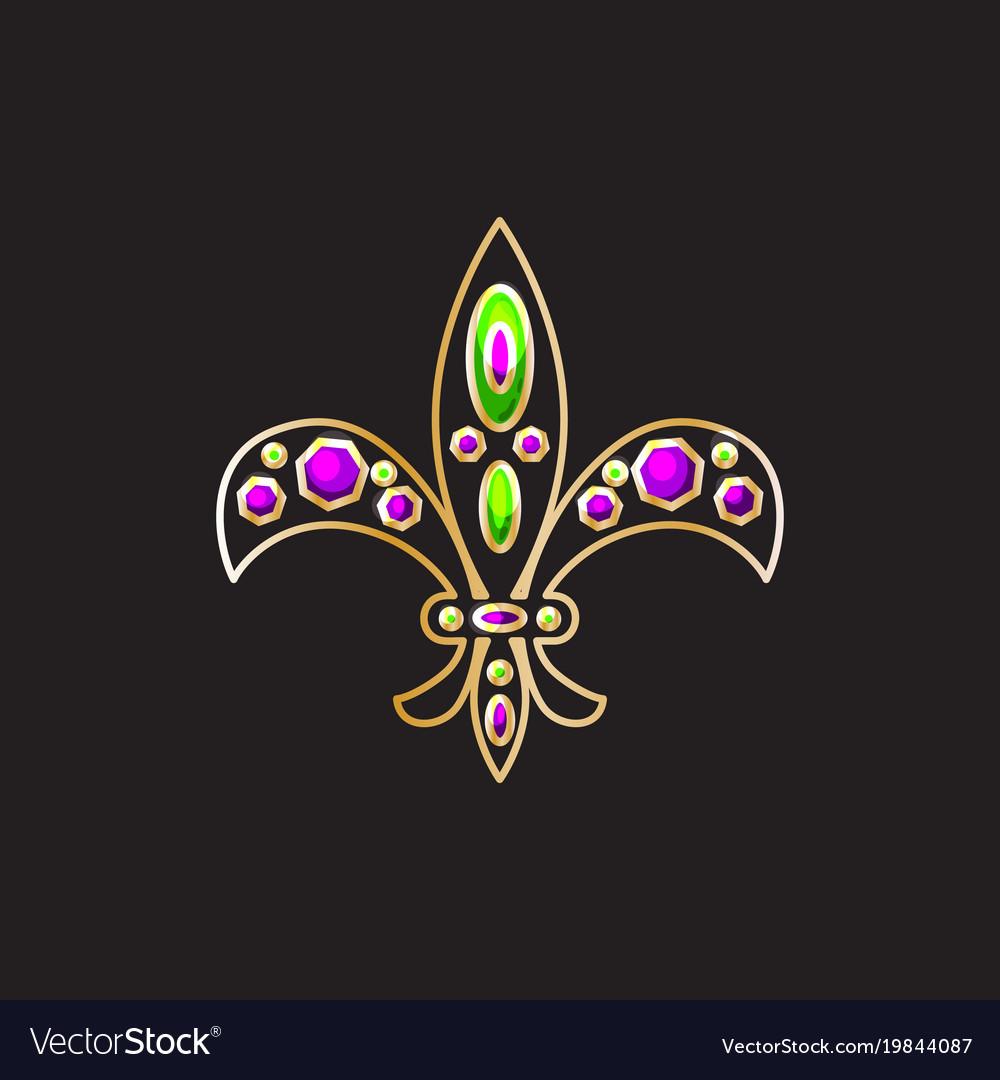 Royal fleur-de-lis with gems and gold contour