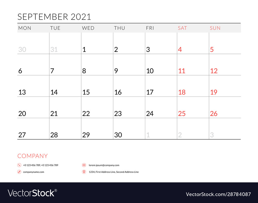 September 2021 monthly calendar planner printable Vector Image