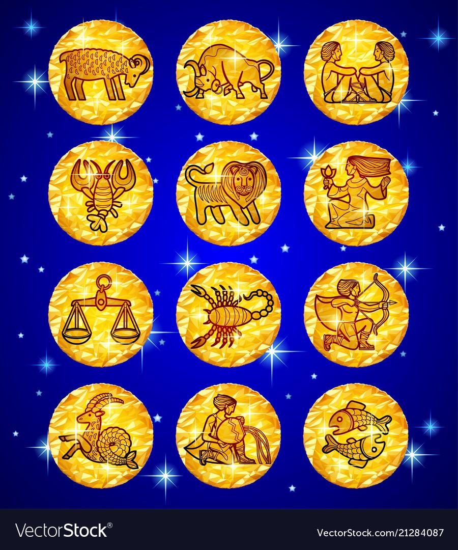 Set gold foil circles with zodiac symbols on blue