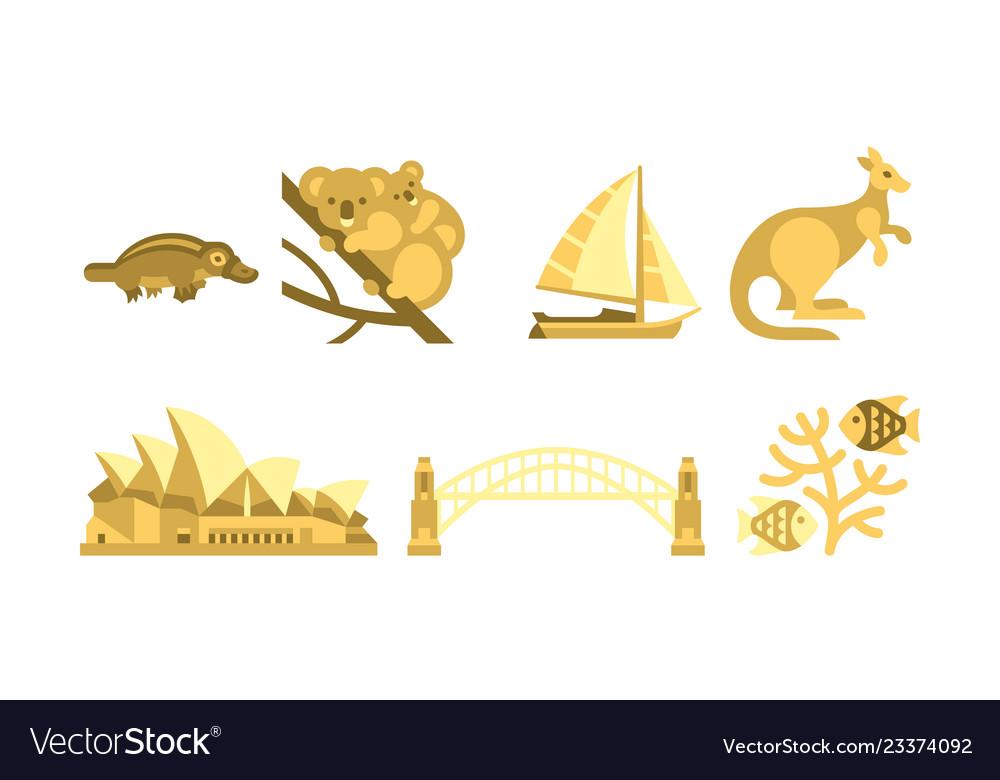 Australia traveling icons set australian