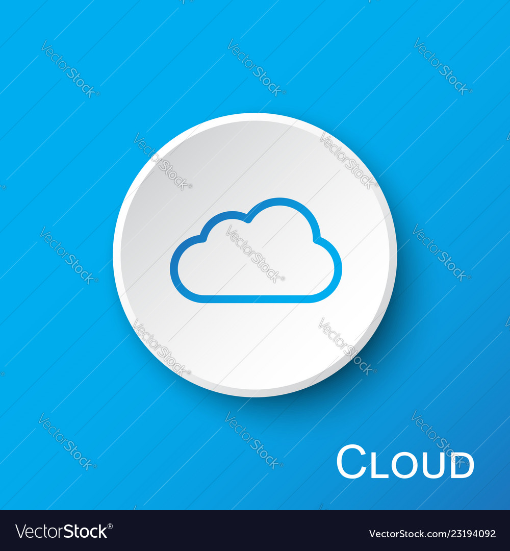 Cloud button on blue gradient background