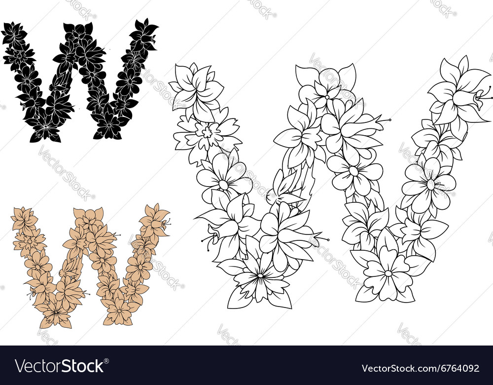 Floral letter W with blooming flowers