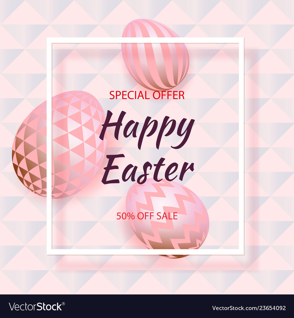 Golden eggs with geometric pattern abstract pink