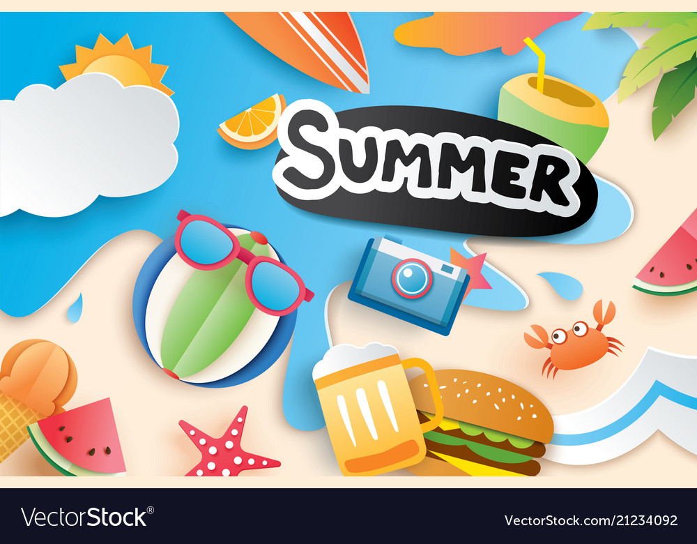 Hello summer with paper cut symbol icon for