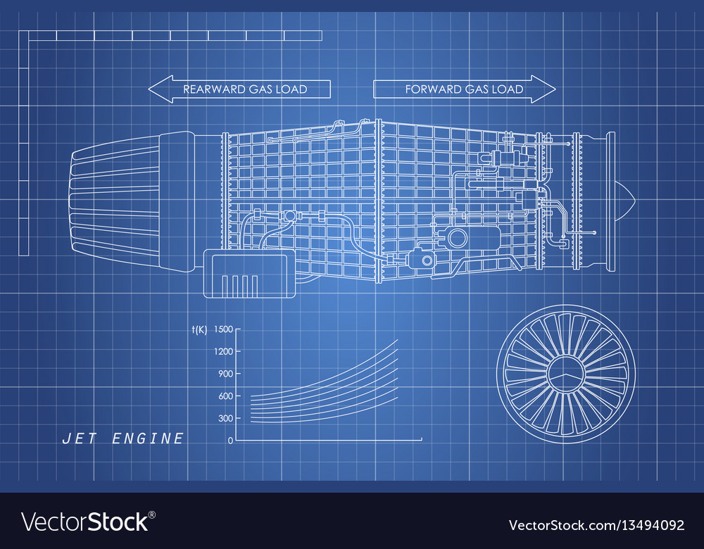 Jet engine in a outline style industrial