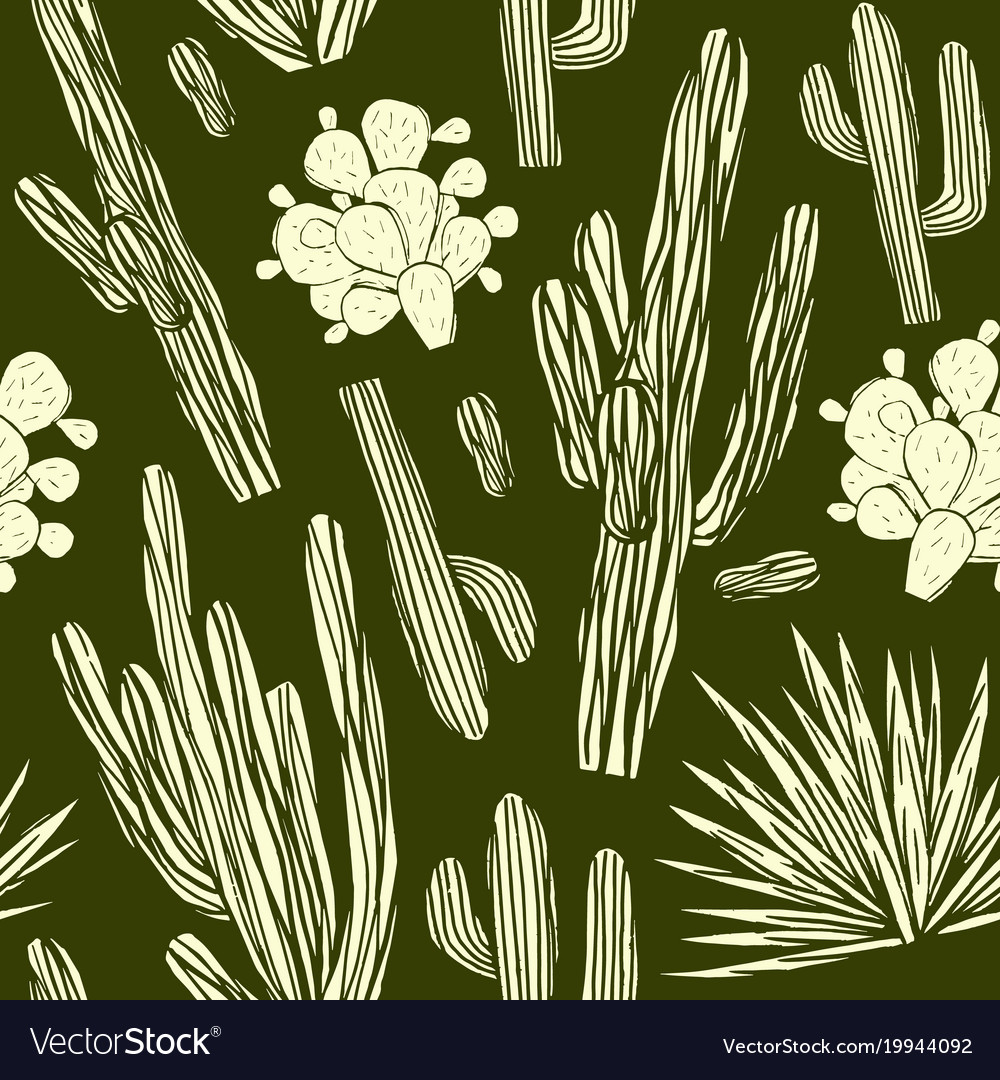 Seamless pattern with the image of cactuses