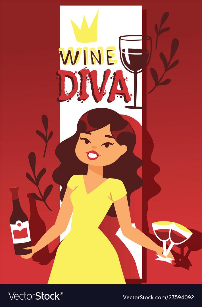 Wine lover banner cartoon