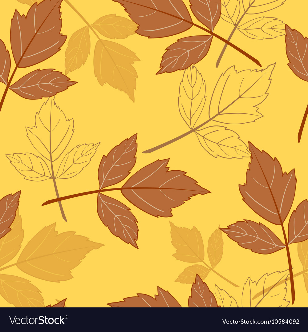 Yellow seamless background with leaves-01