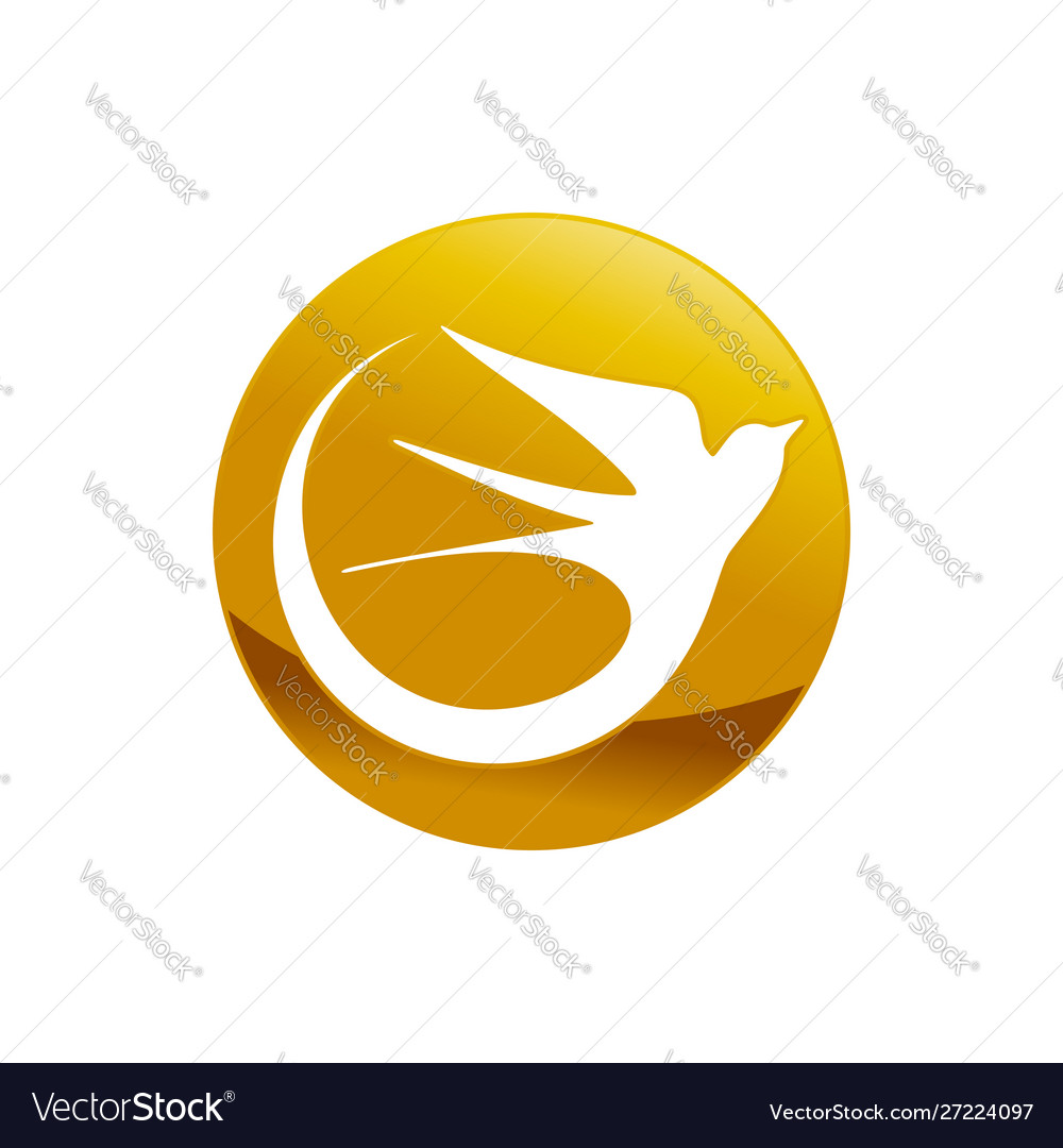 Abstract swallow bird golden emblem symbol design