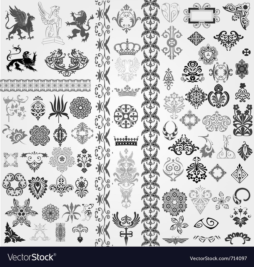 Baroque set vector image