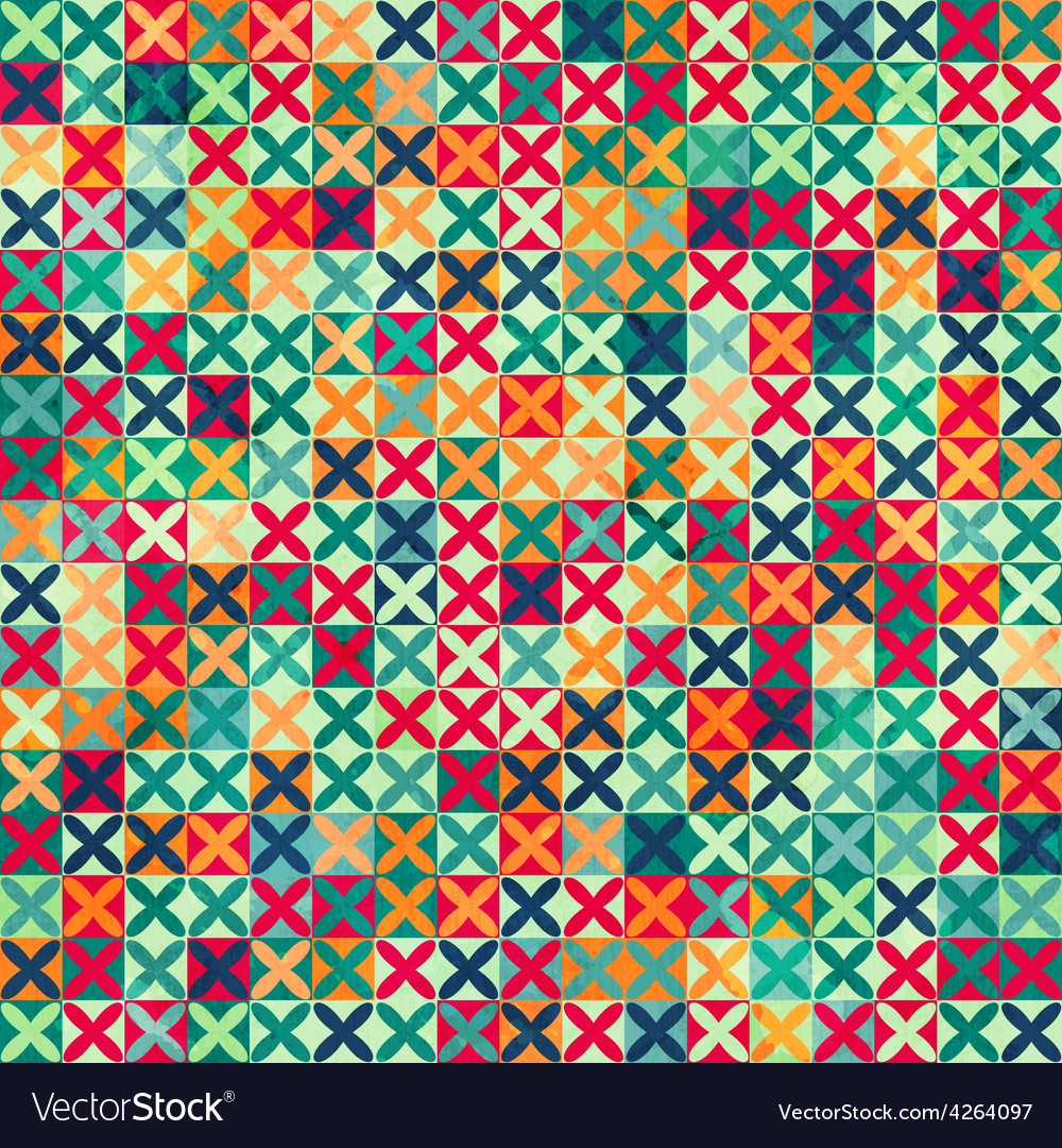 Colored crosses seamless pattern with grunge