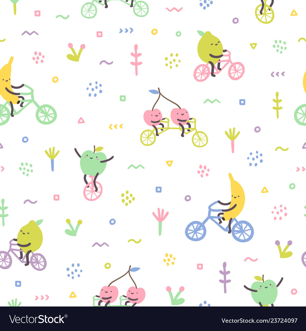 Cute fruits on bicycles