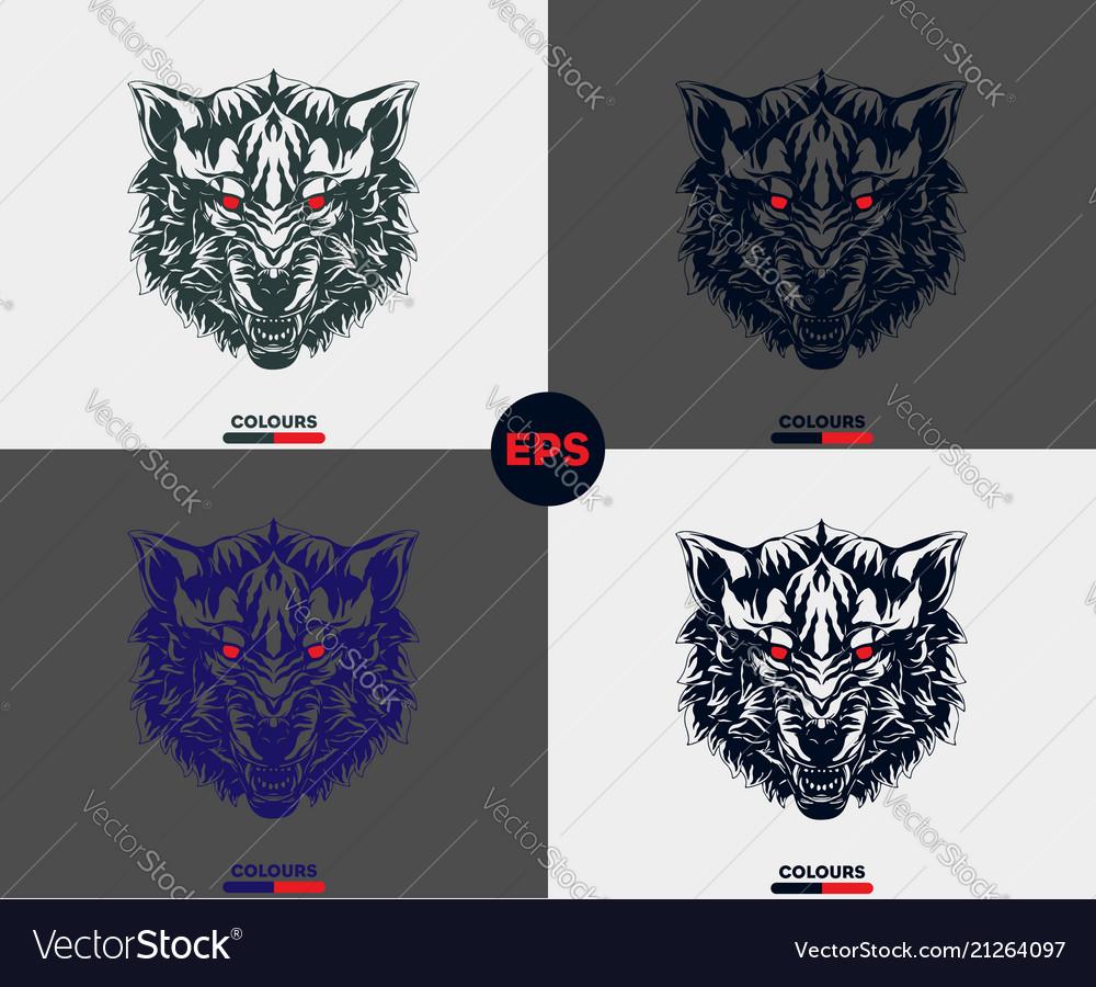 Evil wolf face