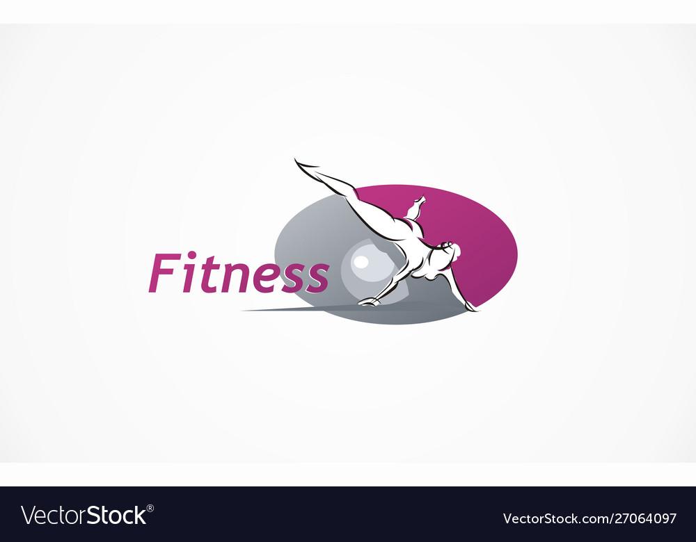 Fitness club logo gym exercising woman