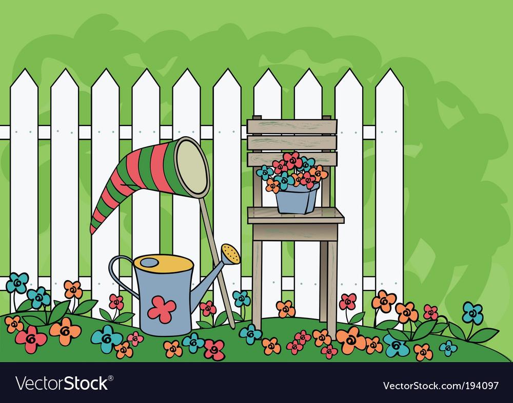Garden drawing vector image