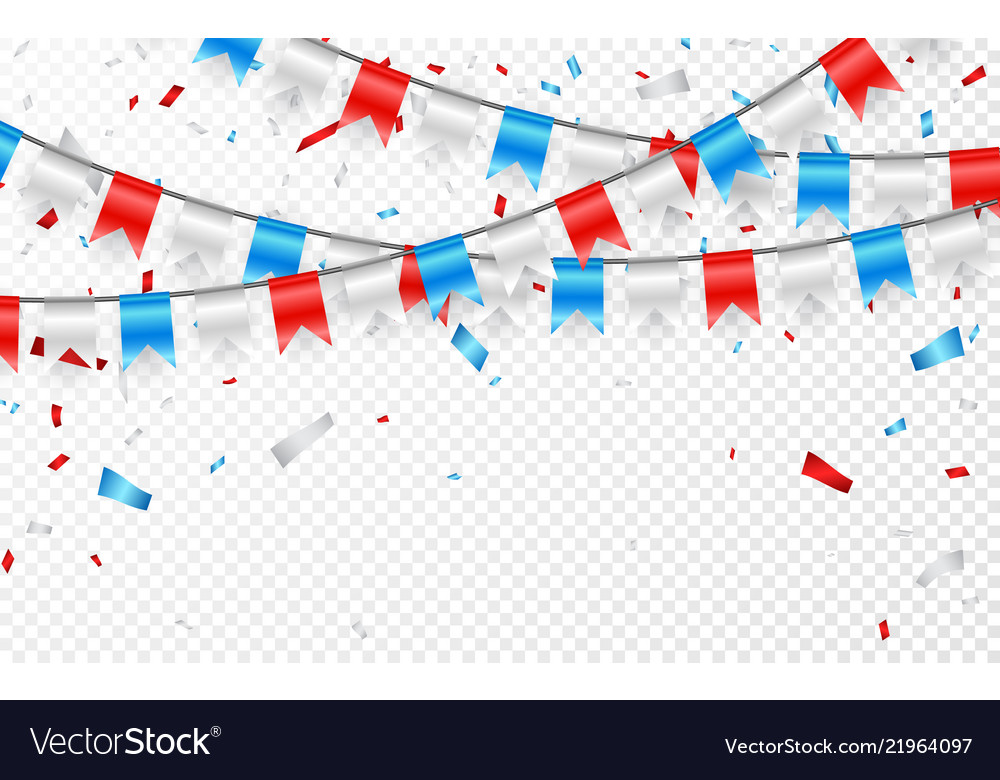Garlands red white blue flags blue white and