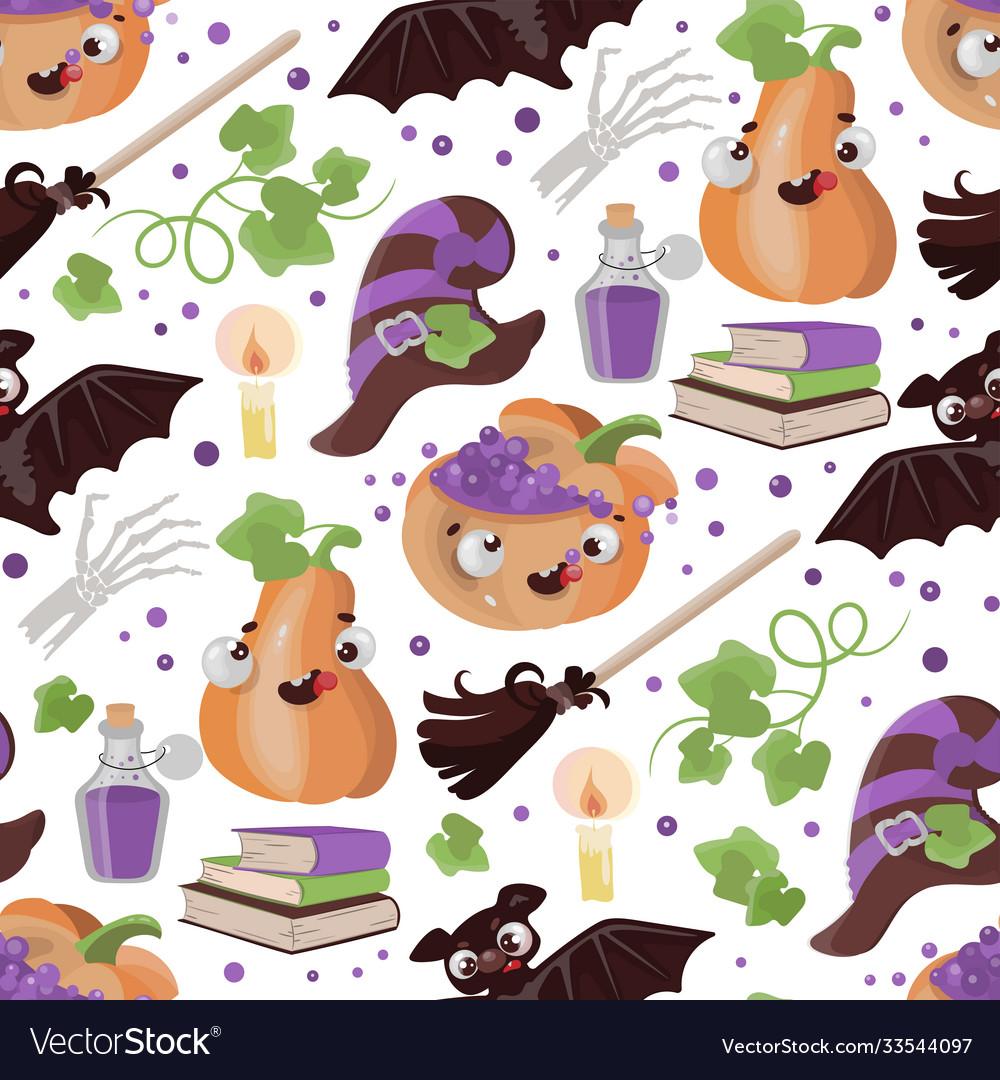 Halloween broom pumpkin flat design seamless