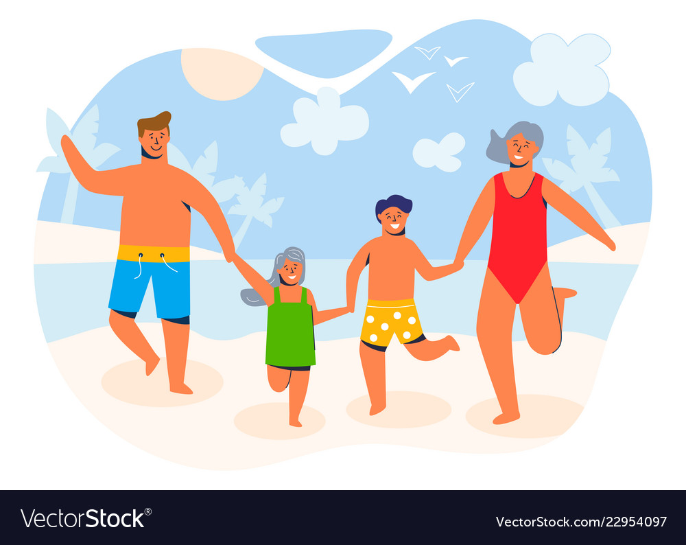 Happy family on summer vacation characters