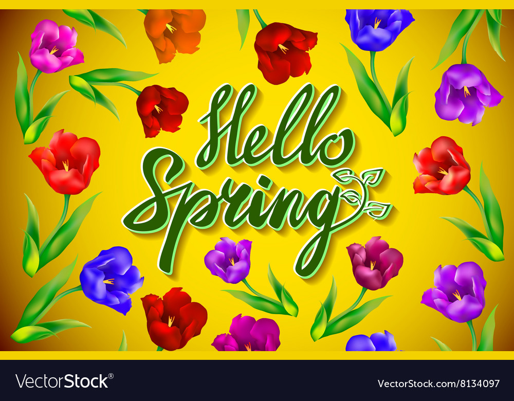Hello Spring Poster Design in Realistic Colorful