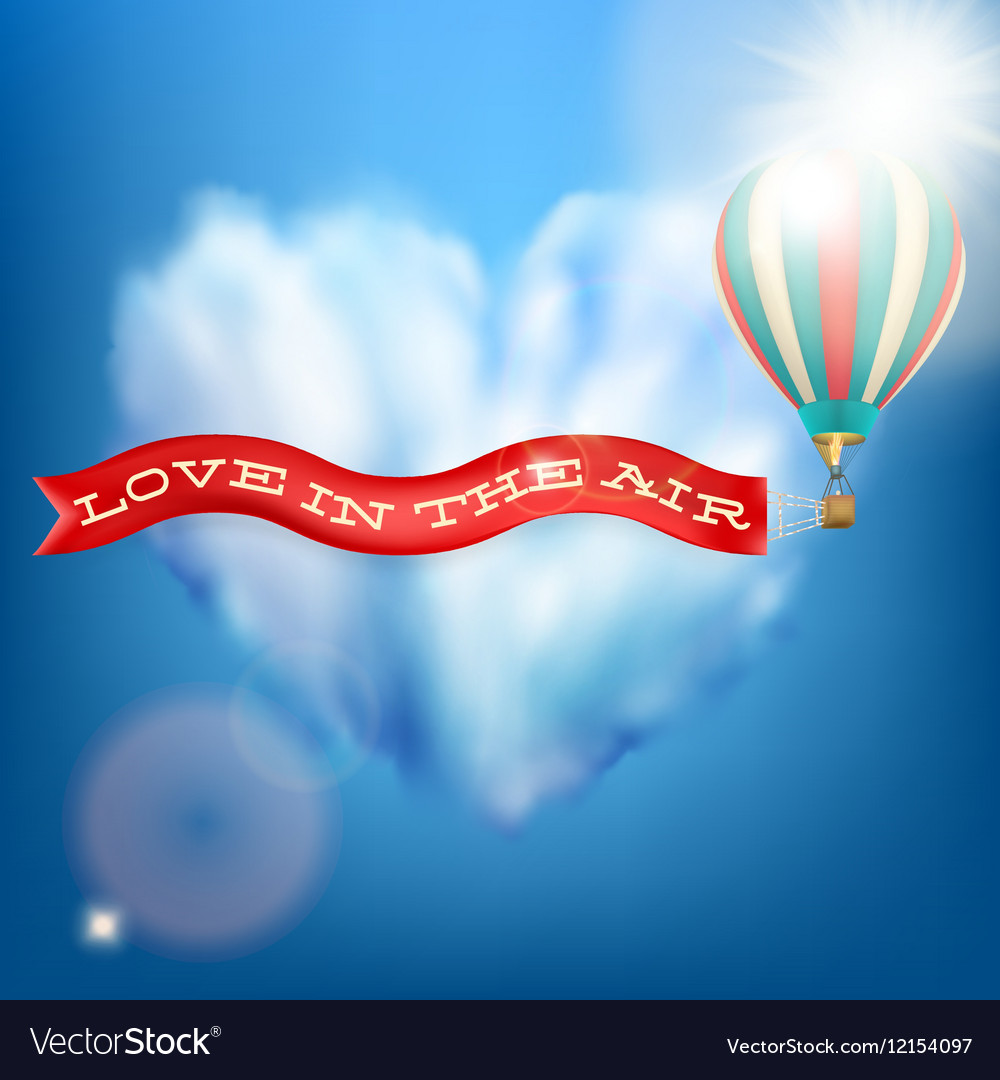 Hot air balloon with banner EPS 10 vector image