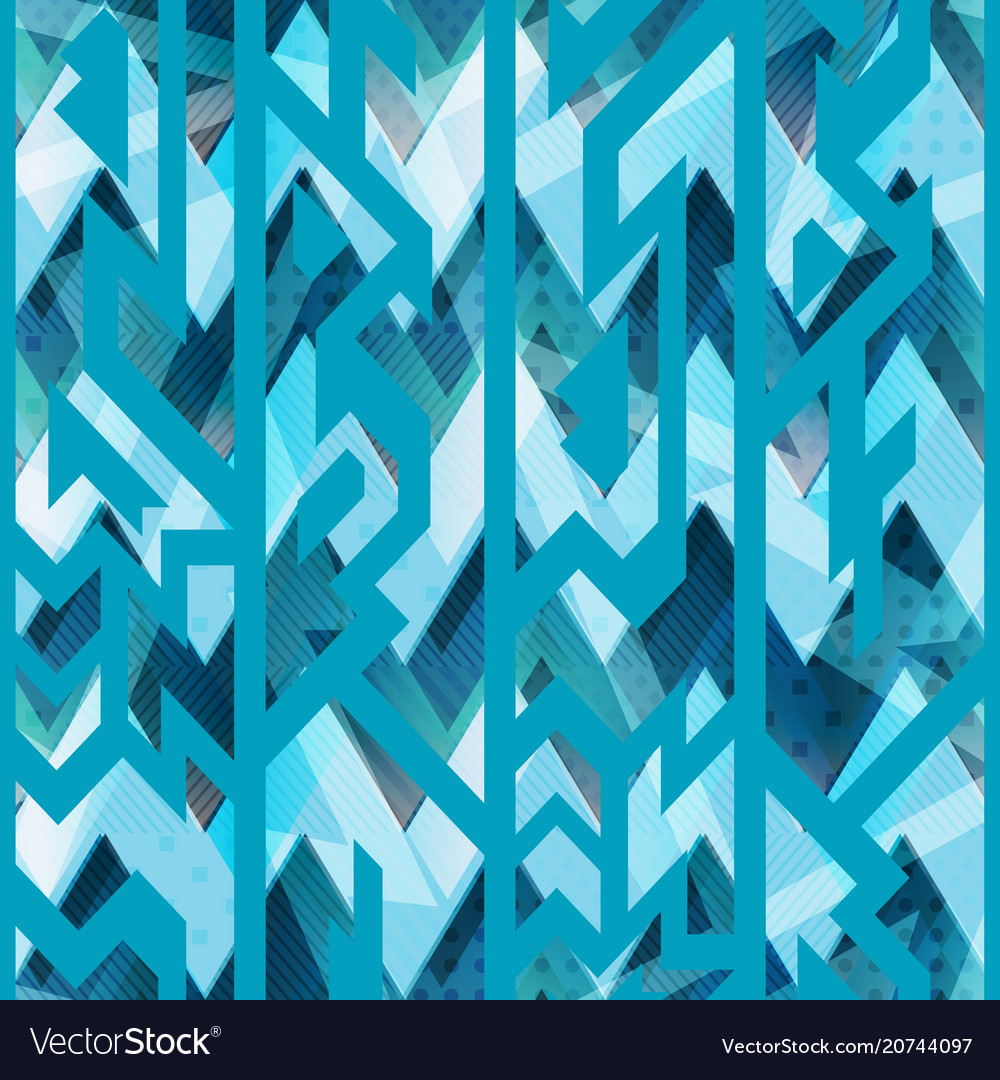 Ice color geometric seamless pattern vector image