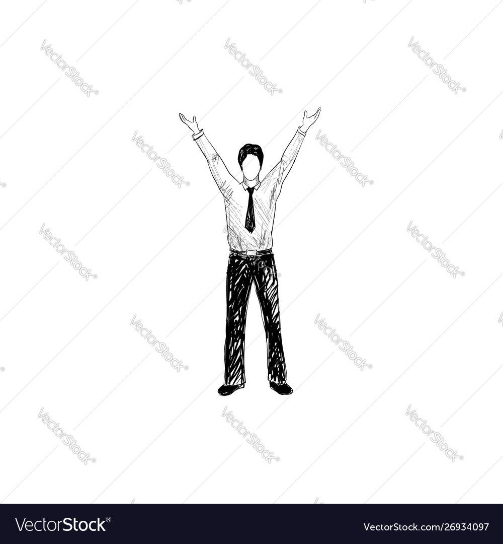 Man with hands up hans drawn businessman over