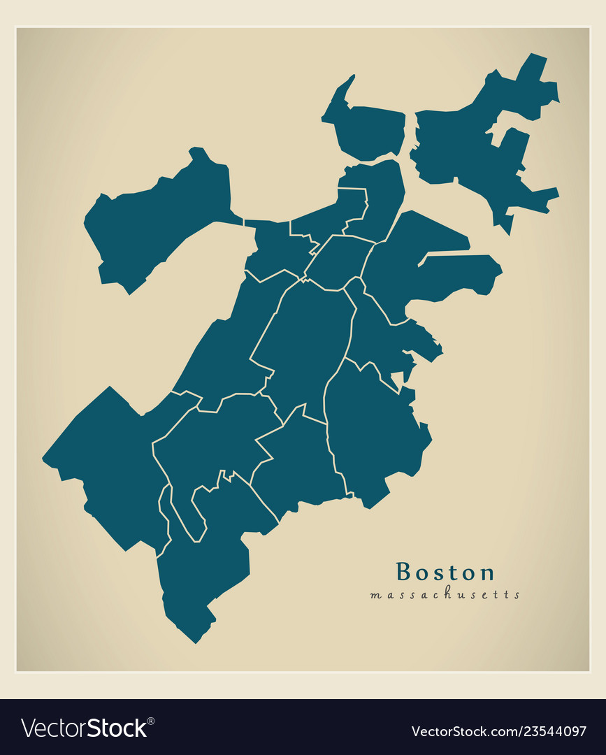 Picture of: Modern City Map Boston Massachusetts City Of Vector Image